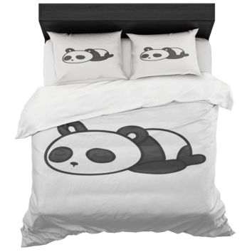 Panda Bear Duvet Cover And 2 Standard Pillow Shams King And Queen Sizes Microfiber Fabric