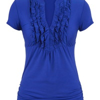 top with ruffle front and cinched sides
