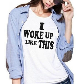 I Woke Up Like This Tee Graphic Tshirt Célfie T-shirt Céline Shirt Paris Fashion