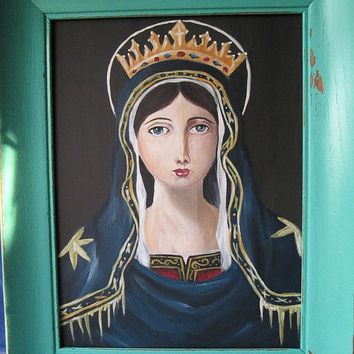ORIGINAL - Virgin Mary Portrait Painting / Home Decor/ Victorian/ Edwardian Home/ French Decor/ Wall Decor/ Lady Guadalupe