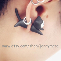 Cute Jewelry - Lovely Black Cat Earrings, Halloween jewelry,Chomper Earring, Witch jewelry, Unique Earrings,