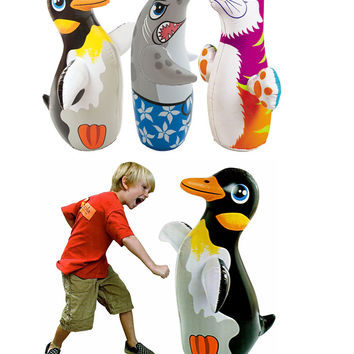 Intex 3D Bop Bag Blow Up Inflatable Penguine, Shark & Tiger Gift Set Bundle Punching Bag