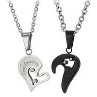 His & Hers Matching Set Titanium Couple Pendant Necklace Korean Love Style in a Gift Box (ONE PAIR)