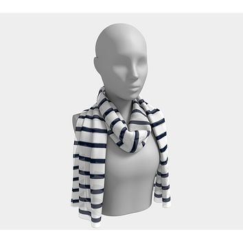 Striped Long Scarf - Navy on White