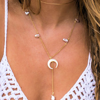 Crescent moon dainty pearl lariat - light pearls