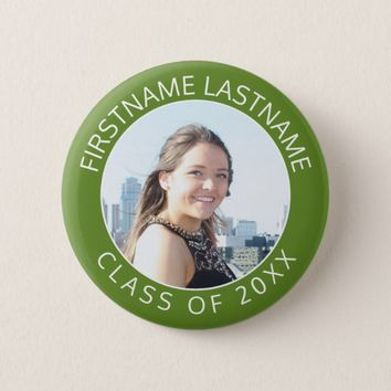 Simple Graduate Photo & Name Class of 2017 Green Button