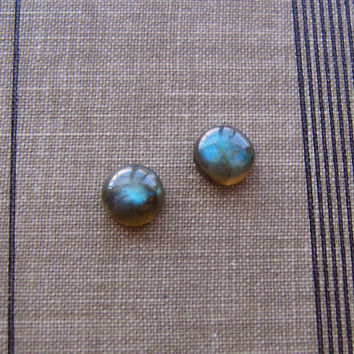 Natural Labradorite Stone Stud Earrings on Surgical Steel Posts