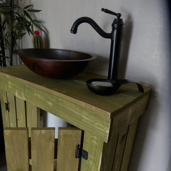 Rustic Wood Vanity Cabinet w/ storage shelf and Sink and Faucet option #8944.