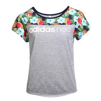 """Adidas"" Multicolor Fruit Pattern Print Round Neck Short Sleeve NEO Women T-shirt"