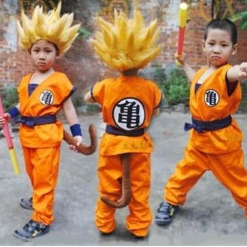 Dragon Ball DragonBall Z GoKu Cosplay Costume And Wig Kids Child Halloween Party Janpan Anime GoKu Costume