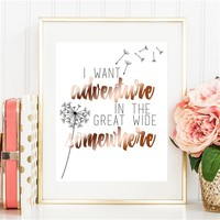 Adventure in the Great Wide Somewhere - Rose Gold Foil Print - Spiffing Jewelry