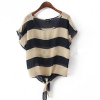 Bold Stripe Box Chiffon Tees with Tie Front