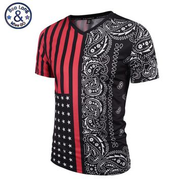 Mr.BaoLong New listing V-Neck t-shirt for men Summer fashion short sleeve 3D Flag stripe printing t shirt man VT6