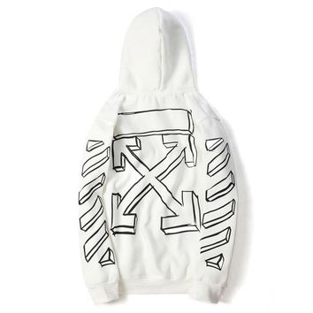 OFF-WHITE trend selling sketch arrowheads with hooded hooded jackets