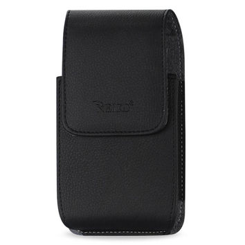 Reiko VERTICAL LEATHER POUCH HTC HD2 T8585 PLUS-BLACK WITH MEGNETIC AND BELT CLIP INNER SIZE: 5.16X3.04X0.83INCH