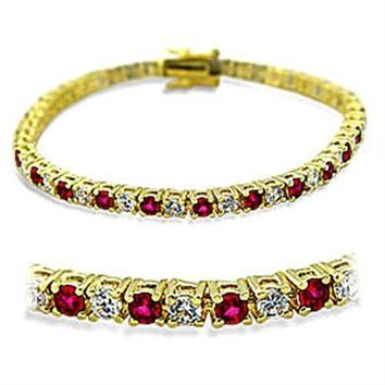 415901 Gold Brass Bracelet with Synthetic in Ruby