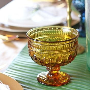 """Small Rosalie Colored Glass Compote Bowl in Amber Yellow - 4"""" Tall x 4.5"""" Diameter"""