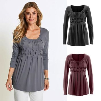 Women Casual Basic Solid Row Pleats Ruched O-Neck Long Sleeve Top T-Shirt Blouse