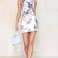 LUCLUC White Floral Print Strap Dress - LUCLUC