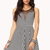 Striped Mesh Fit & Flare Dress | FOREVER 21 - 2002245940