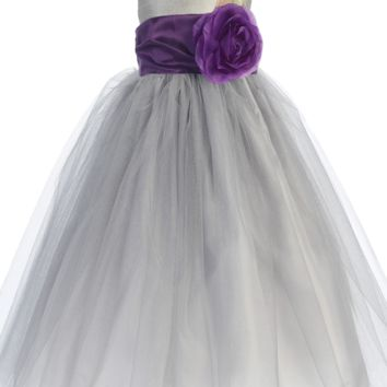 Silver Layered Tulle Flower Girl Dress with Custom Sash & Flower 6M-12Y