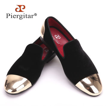 New style front and back metal cap men velvet shoes Fashion Pointed Toe Men Loafers wedding and party noble slip on men's flat