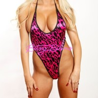 Monokini G-String - Pink with Black Leopard