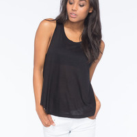 Bozzolo Slub Womens Tank Black  In Sizes