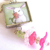 Glass Art Pendant Spring Bunny Two Sided by classyandsassycharms
