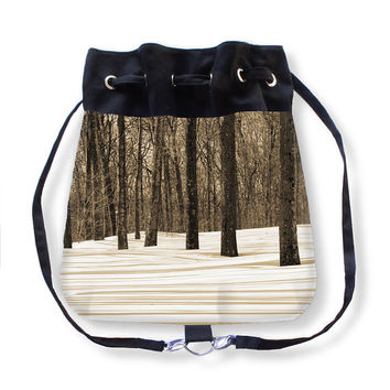 Treefriends, Boho Bag, Backpack, landscape, grey, black, white, sepia, country living, accessory, rustic, winter, snow, trees, frozen