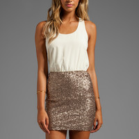 MM Couture by Miss Me Racerback Dress w/ Sequin Bottom in Beige from REVOLVEclothing.com