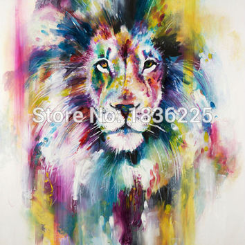 No Framed 1 Panel Modern Animal Lion king Handmade Oil painting on Canvas Wall Decoration Home Wall Art Picture Deer Painting