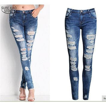New 2016 Hot Fashion Ladies Cotton Denim Pants Stretch Women Bleach Ripped Skinny Jeans Denim Jeans for Female Plus Size 601B 25