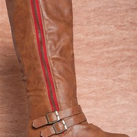 Glaze Ride Into The Wild Ocha-1 Red Zipper Two Strap Riding Boots - Camel