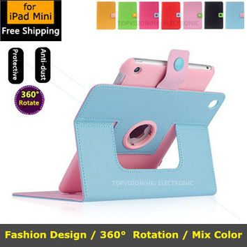 lovely 360 rotating leather cover for ipad mini 1 2 3 bling stand smart case for apple ipad mini cover wake sleep