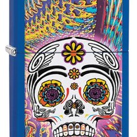 Zippo Day of the Dead Royal Blue Matte Lighter