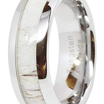 CERTIFIED 8mm Tungsten Ring Wedding Band Deer Antler Inlaid Dome Shape