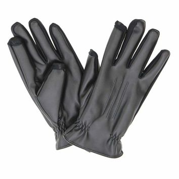 ISOTONER smarTouch Faux Leather Gloves 725M1 Black Medium or Large