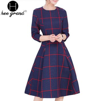 Brief Plaid Print Spring New Fashion Three Quarter Sleeve Empire Knee-Length Ladies Dress