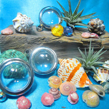 23mm Medium Candy Pendants, Lot of 3,Supply, Empty Display Case, Terrarium Necklace, Silver Tone, Art,Craft, Mementos, Clear Locket
