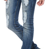 Almost Famous Aliza Medium Wash Studded Skinny Jeans