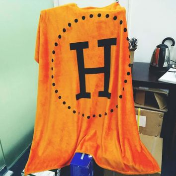 Hermes Fashion Conditioning Throw Blanket Quilt For Bedroom Living Rooms Sofa Warm Flannel Orange G