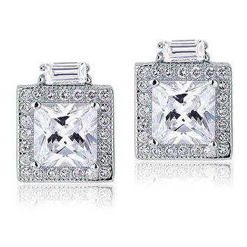 2 Carat Simulated Diamond Vintage Style Stud 925 Sterling Silver Earrings
