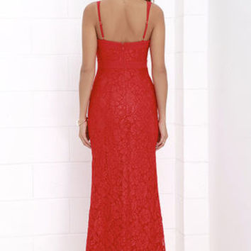 What a Doll Red Lace Maxi Dress