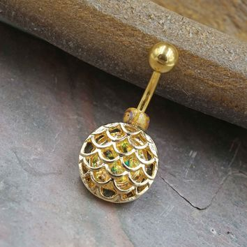 Opal Mermaid Scales Belly Button Ring Gold - Short Belly Button Jewellery