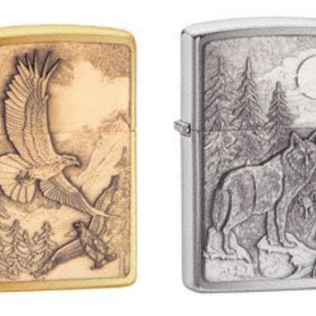 Zippo Lighter Set - Where Eagles Dare Brass Emblem, and Timberwolves Pewter Emblem Brushed Chrome, Pack of Two