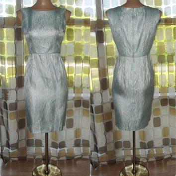 Vintage 50s 60s Blue Ice Hourglass Cocktail Wiggle Dress Light Blue & Silver Lurex Flames 36/28/40 M/L