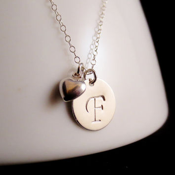 Silver Initial Heart Necklace, Disc Charm, Personalized Handstamped, Mother's Day, Big Little Sister, Best Friends, Gift Present Christmas