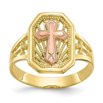 10k Yellow and White Gold Two-tone Filigree Cross Ring Size 6