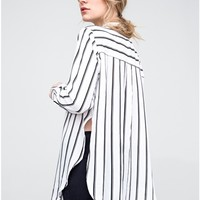Long Sleeve Striped Button Down in White/Black